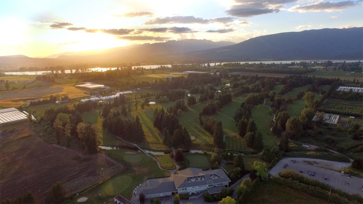 Pitt Meadows Golf Club Overhead Sunset Shot